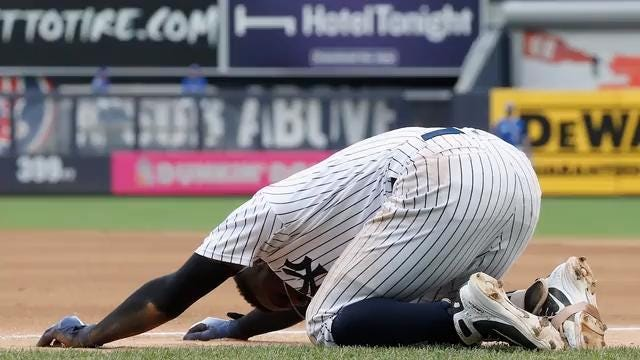 New York Yankees shortstop Didi Gregorius was taken to the hospital after he injured his heel during Sunday's 10-2 win over the Blue Jays.