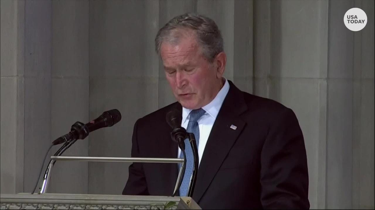 George W Bush Speaks About John Mccain At National Cathedral In Dc