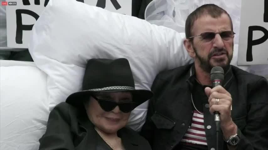 Yoko and Ringo re-create 'bed-in' protest