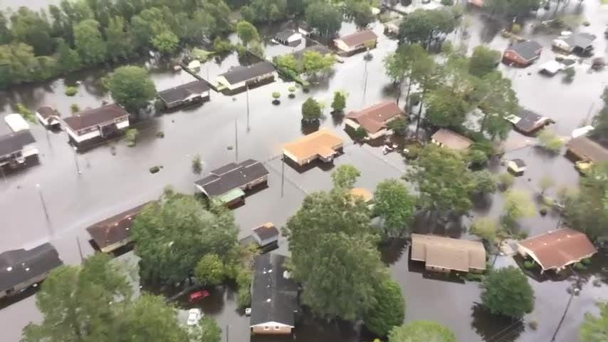 Aerial footage of flooding, damage in N C