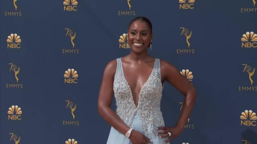 "Stars made a parade of fashion on the Emmys new gold carpet including Jenifer Lewis of ""black-ish"" fame in Nike and Scarlett Johansson in a white Balmain gown. (Sept. 17)"