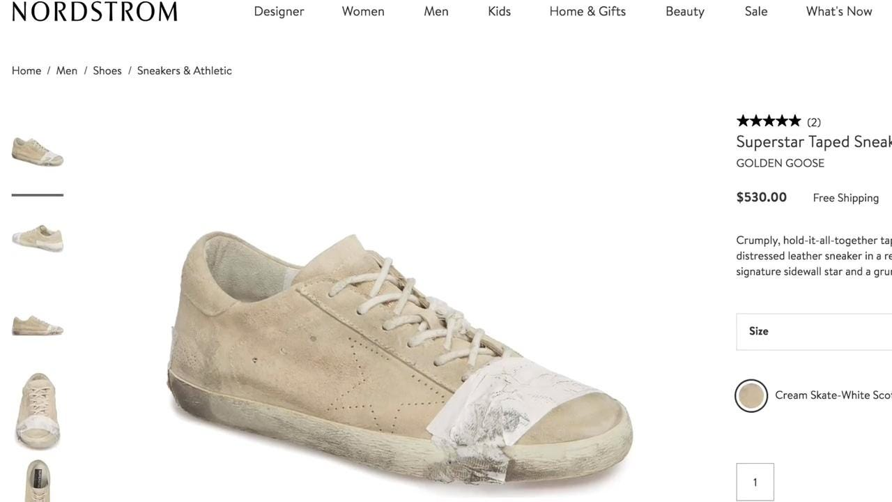 d6642cc9026 Nordstrom s  530 taped-up sneakers sell out despite consumer outcry