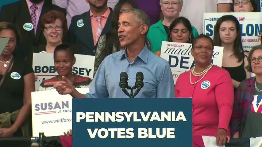Barack Obama turned his political attention Friday to Pennsylvania — a state Donald Trump won in 2016. The former president campaigned in Philadelphia with two leading Democrats running for re-election, Gov. Tom Wolf and U.S. Sen. Bob Casey. (Sept. 21)