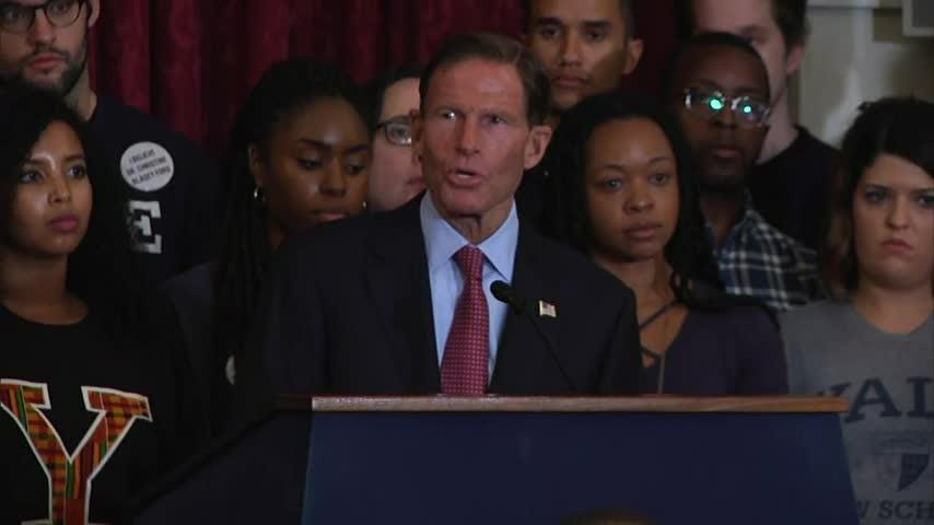 Senators Richard Blumenthal and Chris Coons joined Yale Law students to call for a delay in the hearings of Supreme Court nominee Brett Kavanaugh following the latest allegations of sexual misconduct, insisting an investigation must come first. (Sept. 24)
