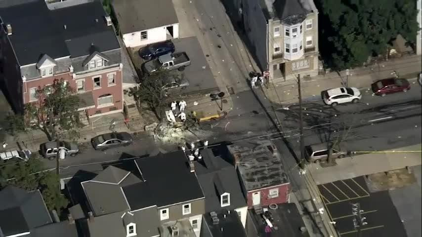 Aerial video shows scene of fatal Pa. car explosion