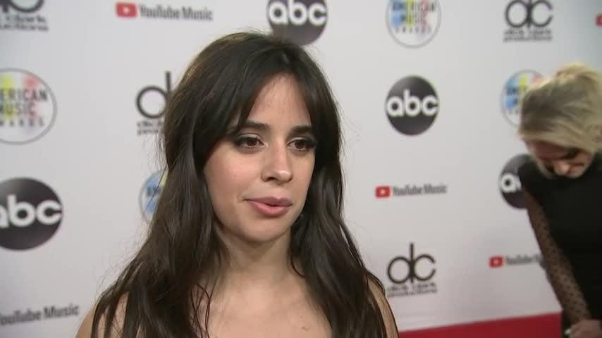 "Backstage at the American Music Awards, winner of four trophies Camila Cabello talks about her ""nerve-racking"" performance and the importance of having her family at the show. (Oct. 10)"