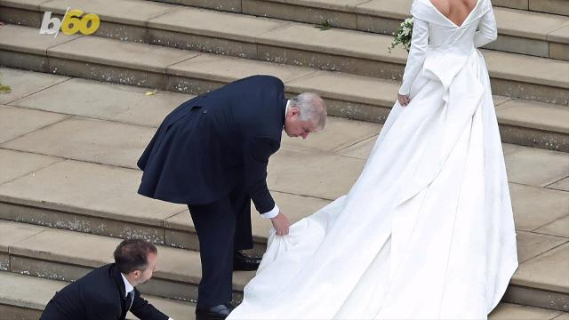 The Duke of York, Prince Andrew, took his father of the bride duties for Princess Eugenie very seriously, even stooping down to fix her train. Keri Lumm shares the sweet moment.