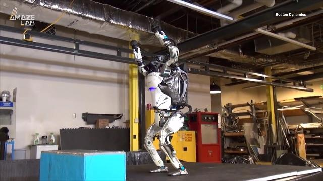 Check out the new upgrade to Boston Dynamics' Atlas robot and all the cool new tricks that come with it.
