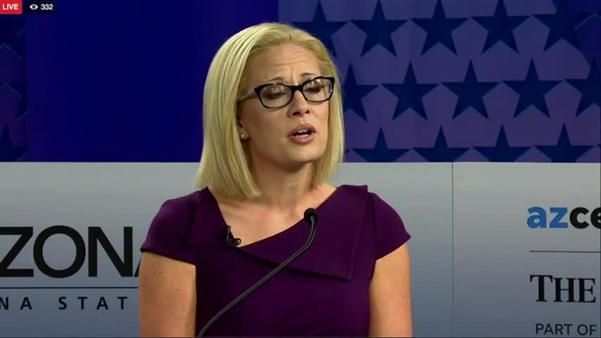 "Republican Rep. Martha McSally accused Democratic Rep. Kyrsten Sinema, of supporting ""treason,"" citing a 15-year-old radio interview. Sinema accused McSally of ""ridiculous attacks."" The two US Senate candidates from Arizona debated Monday. (Oct. 16)"