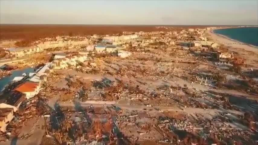 Drone aerial video from Mexico Beach, Florida shows a stretch of the town with almost every structure no longer standing. There was just one confirmed death so far in Mexico Beach, which Hurricane Michael nearly wiped off the map. (Oct. 16)