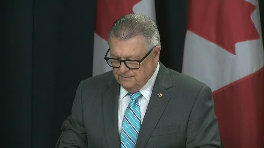 Public Safety Minister Ralph Goodale says Canada's government will introduce legislation to let people apply for a pardon of small-scale marijuana possession convictions — as long as they've finished their sentence. (Oct. 17)