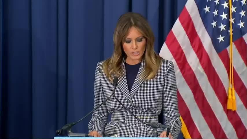 US First Lady Melania Trump spoke briefly at a conference at Thomas Jefferson University Hospital in Philadelphia on newborns who were exposed to opioids while in the womb. (Oct. 17)