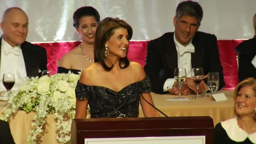 Outgoing U.N. Ambassador Nikki Haley poked fun at her own Indian heritage, her boss and the current political climate at a white-tie gala in New York. (Oct. 18)