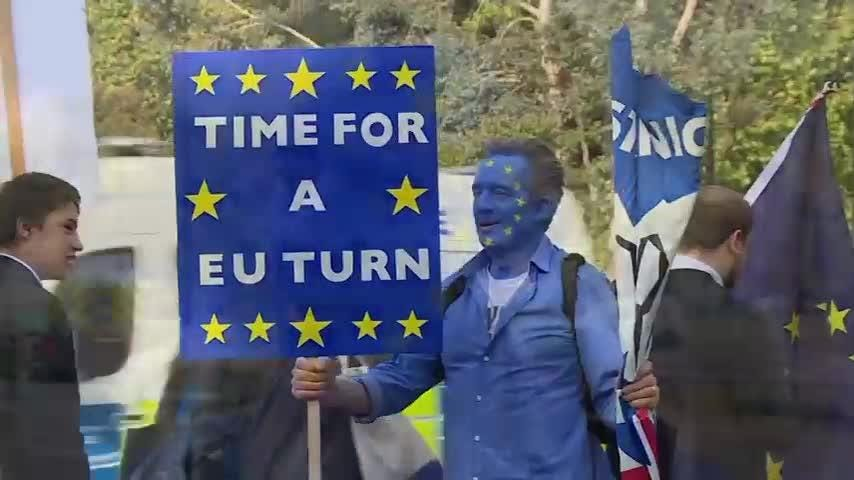 Tens of thousands of protesters gathered in central London on Saturday to call for a new referendum on the United Kingdom's departure from the European Union. (Oct. 20)