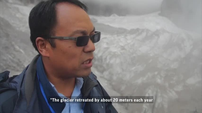 Melting glacier in China draws climate worries