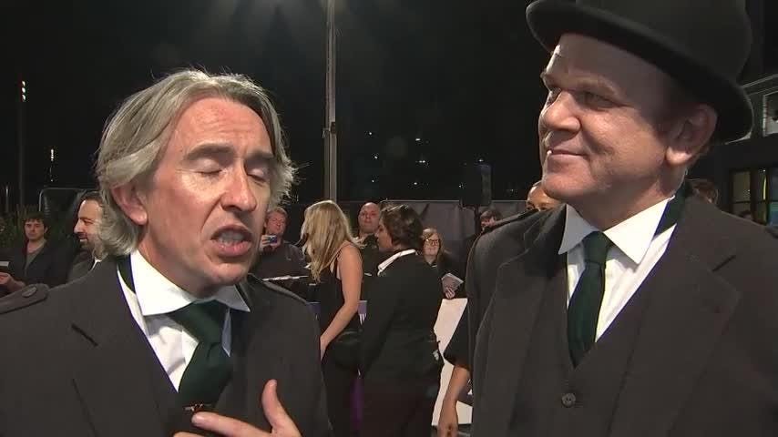 """At the BFI London Film Festival world premiere of critically acclaimed comedy drama """"Stan & Ollie,"""" stars John C. Reilly and Steve Coogan discuss bringing the two legendary comedians back to life for the screen. (Oct. 22)"""