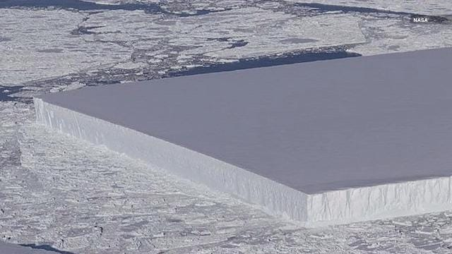 NASA captured this weird iceberg in Antarctica during their Operation IceBridge project.