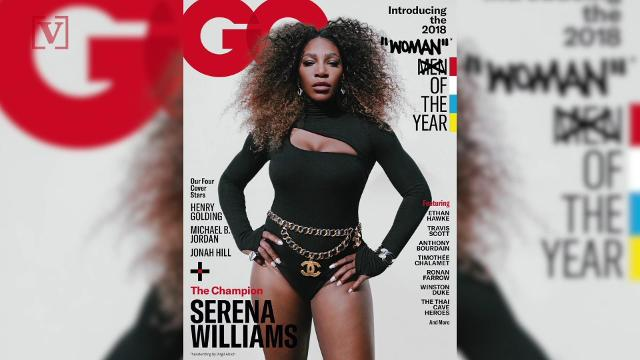 GQ Magazine is facing backlash for putting the word Woman in quotes, on their cover that introduces Serena Williams as Woman of the Year. Veuer's Sam Berman has the full story.