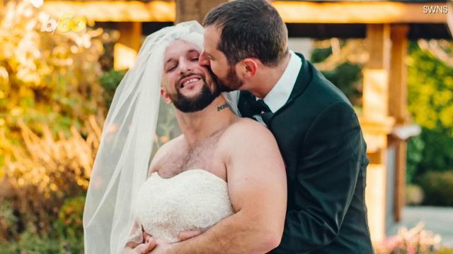 b37463da0df Best man surprises groom by wearing bride s wedding dress