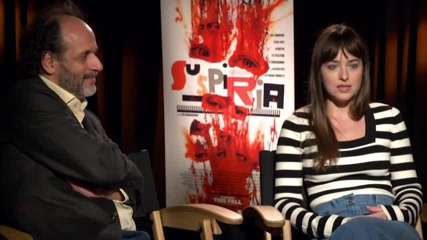 "Speaking in Los Angeles recently, the stars of 'Suspiria' - Mia Goth and ""Fifty Shades of Grey"" actress Dakota Johnson - tried to explain how Italian filmmaker Luca Guadagnino's style differs from other directors. (Nov. 26)"