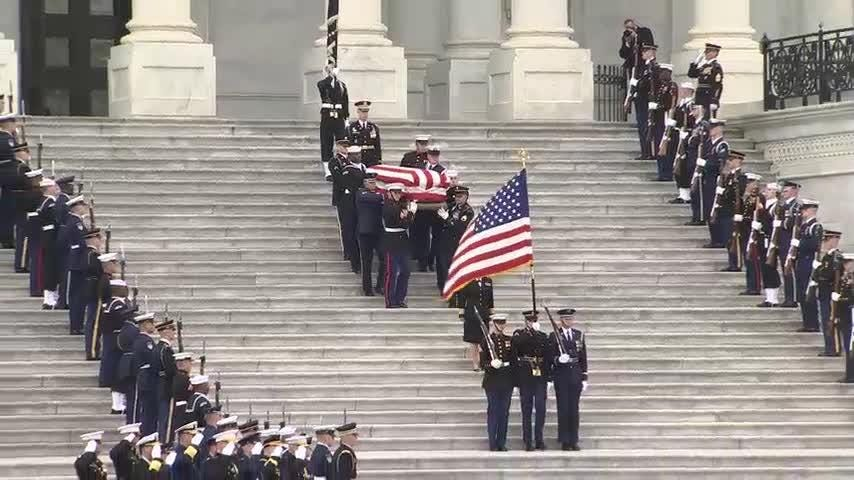 Former President George H.W. Bush's casket has left the U.S. Capitol for a state funeral at the Washington National Cathedral. (Dec. 5)