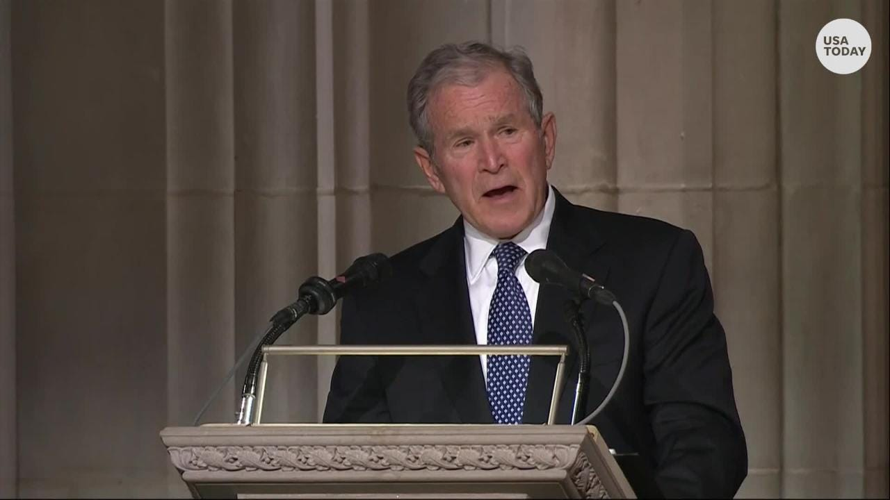 Former President George W. Bush remembers former President George H.W. Bush's love for his country, his family and a good laugh during his eulogy for his dad.