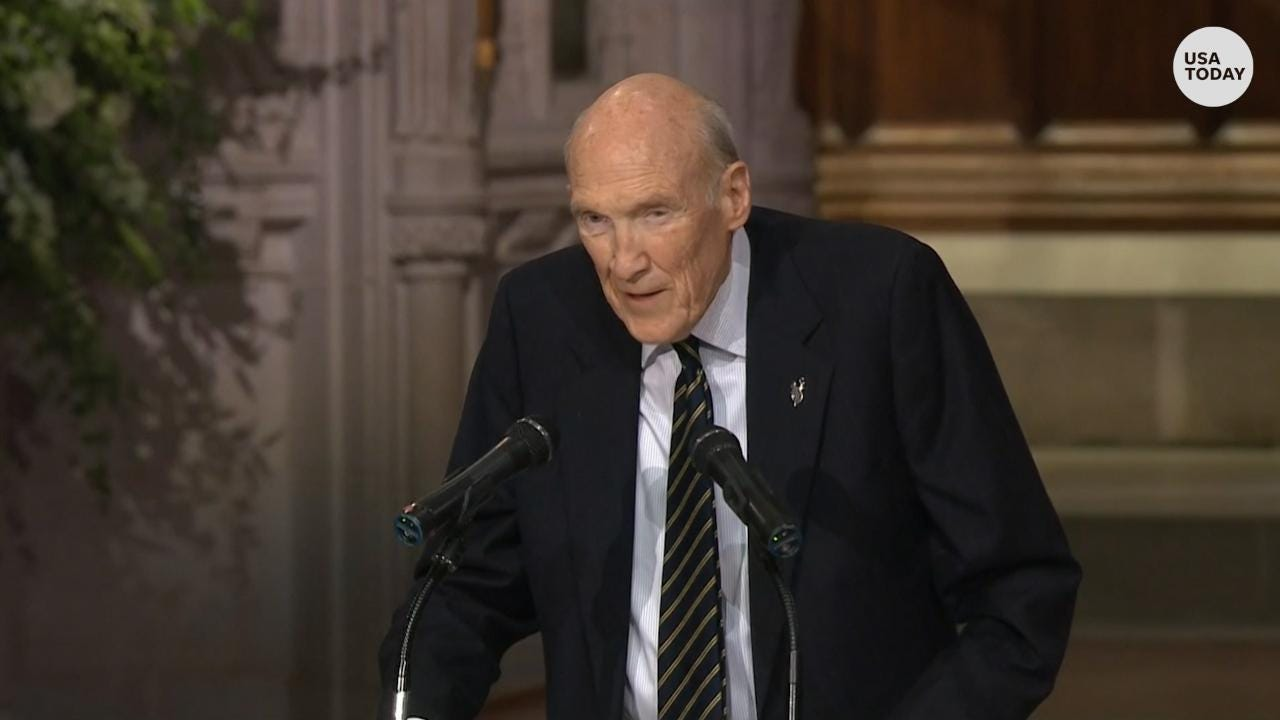 Former Senator Alan Simpson of Wyoming makes mourners laugh at the state funeral for his dear friend and former President George H.W. Bush.