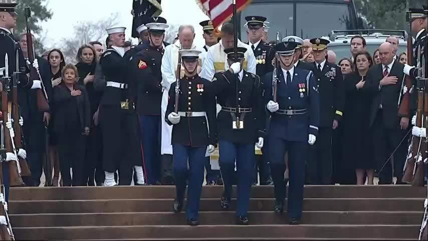 Former President George H.W. Bush's casket has arrived for burial in his family's plot on the grounds of his presidential library in Texas. (Dec. 6)