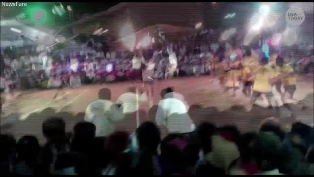 Several spectators were injured during a kabaddi match in Maharashtra, India when  part of the stage where fans were seated collapsed.