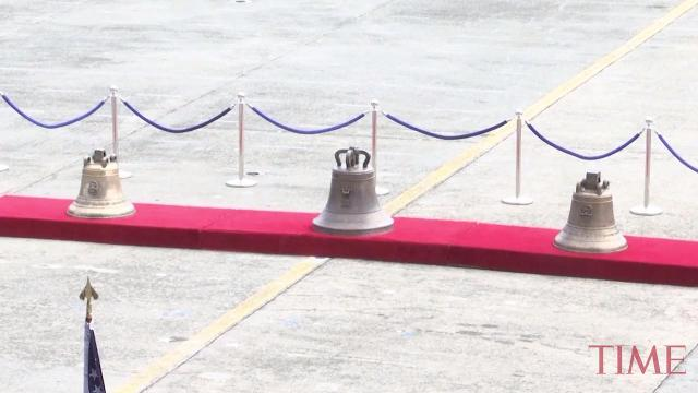 Three church bells seized by American troops as war trophies more than a century ago arrived in Manila on Tuesday to be handed back to the Philippines
