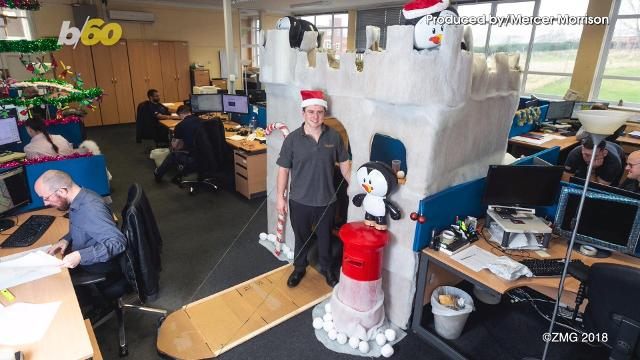 An employee for Ibsecad in England has turned Deck the Halls into Desk the halls! Buzz60's Mercer Morrison has the story.