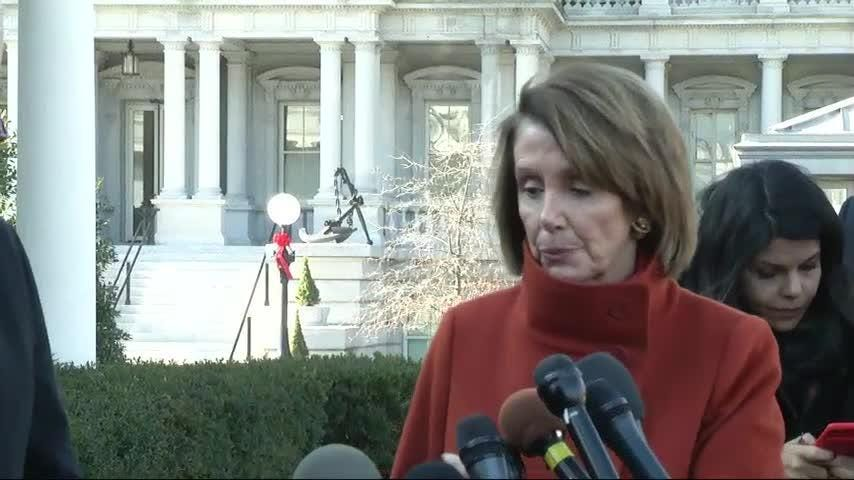 Speaking outside the White House after the Oval Office meeting, Democratic leaders blasted Trump over his renewed threat to shut down part of the government over funding of a wall on the U.S.-Mexico border. (Dec. 11)