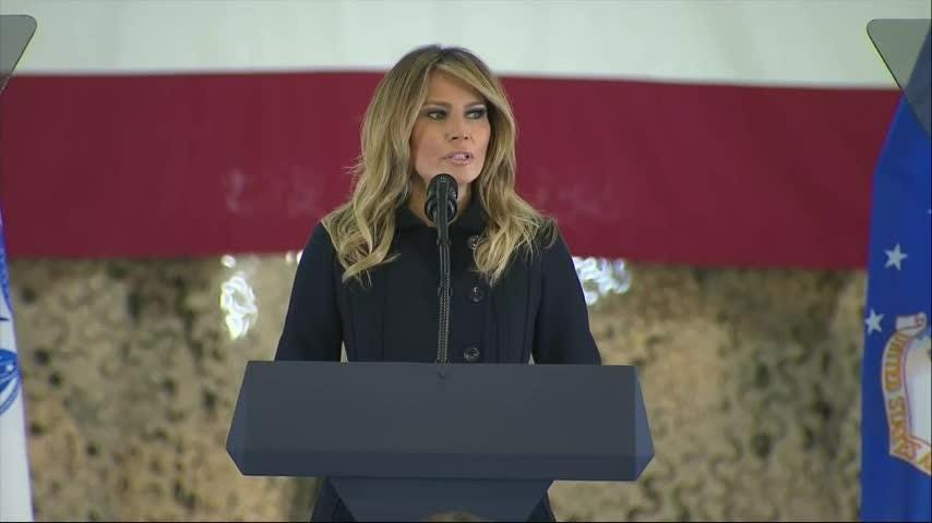 Melania Trump visits servicemembers and families