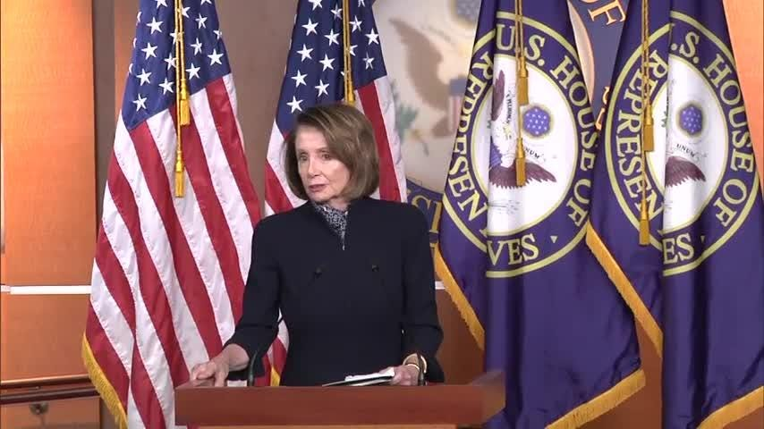 """Rep. Nancy Pelosi says President Donald Trump is the """"only obstacle"""" to keeping government open. The funding fight is something leaders of both parties had hoped to avoid as Congress seeks to wrap up its work for the year. (Dec. 13)"""
