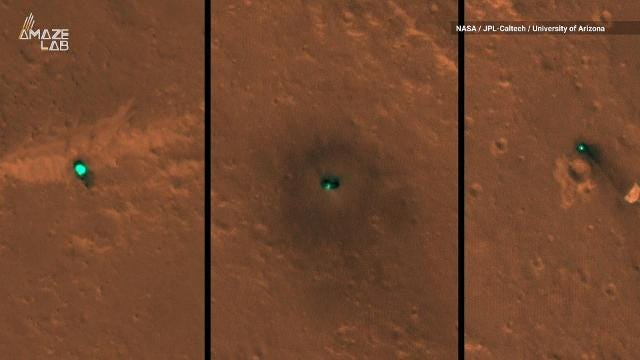 The Mars Reconnaissance Orbiter snapped the first shots of the InSight Lander in Elysium Planitia, InSight's flat lava plain landing sight.