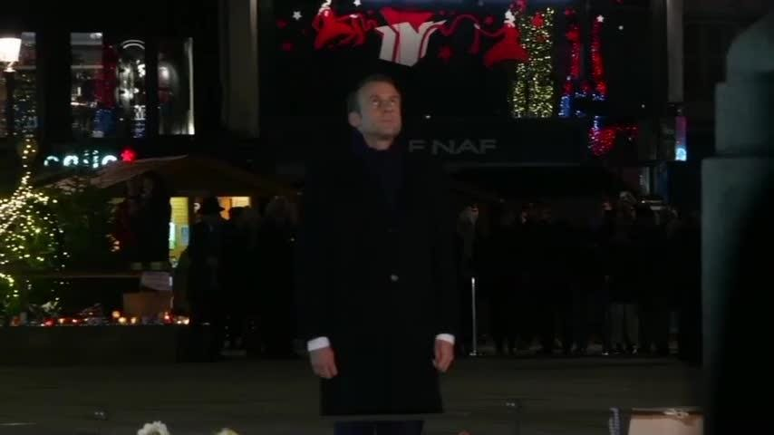 French President Emmanuel Macron arrived in Strasbourg on Friday evening, one day after the suspect in a recent attack near the city's famous Christmas market was shot dead in a police operation. (Dec. 14)