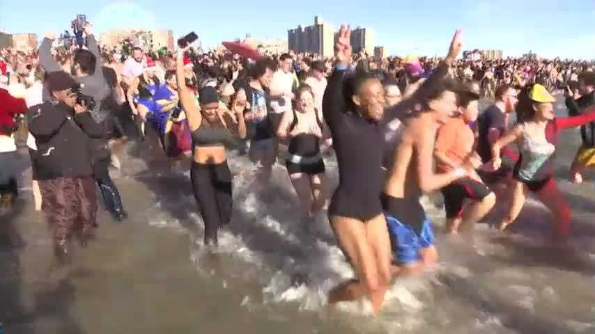 Hundreds take part in Coney Island Polar Bear plunge