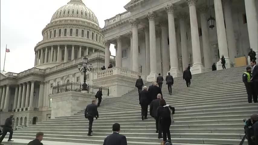 Trump visits Capitol Hill to seek GOP shutdown support