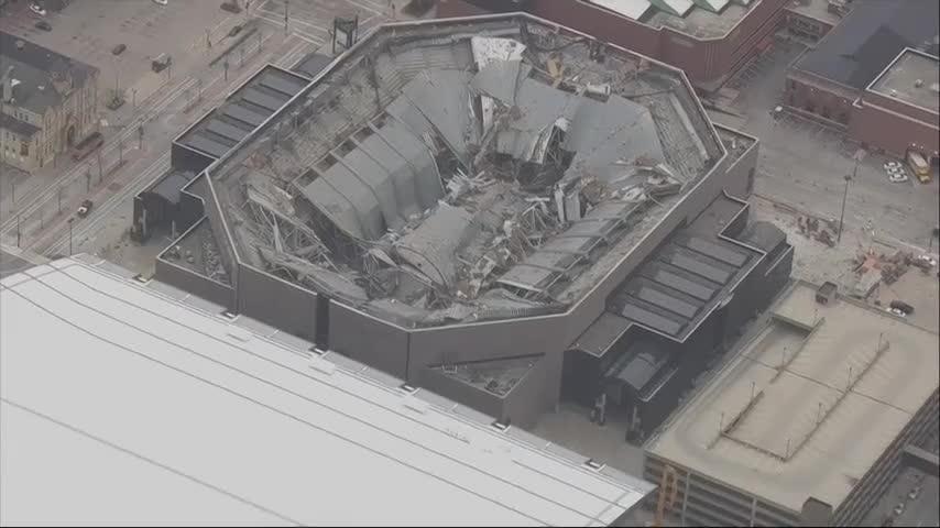 NBA arena demolished with explosives