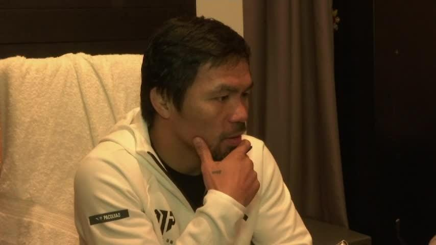 Boxer Manny Pacquiao is back in the gym training for his latest contest, set for next Saturday in Las Vegas against Adrien Broner. Now 40 years old, Pacquiao says he's excited to 'show my best'. (Jan. 15)