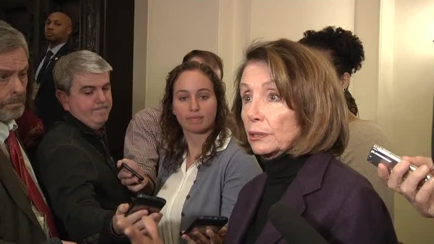 """Democratic House Speaker Nancy Pelosi is accusing the White House of leaking information about a planned congressional trip to Afghanistan and saying it's """"very irresponsible on the part of the president."""" (Jan. 18)"""