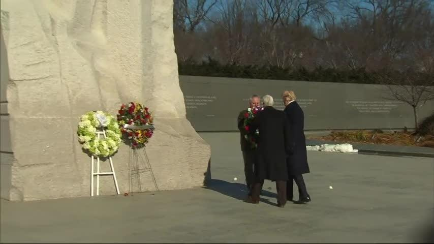 President Donald Trump lays wreath at Martin Luther King Jr. Memorial
