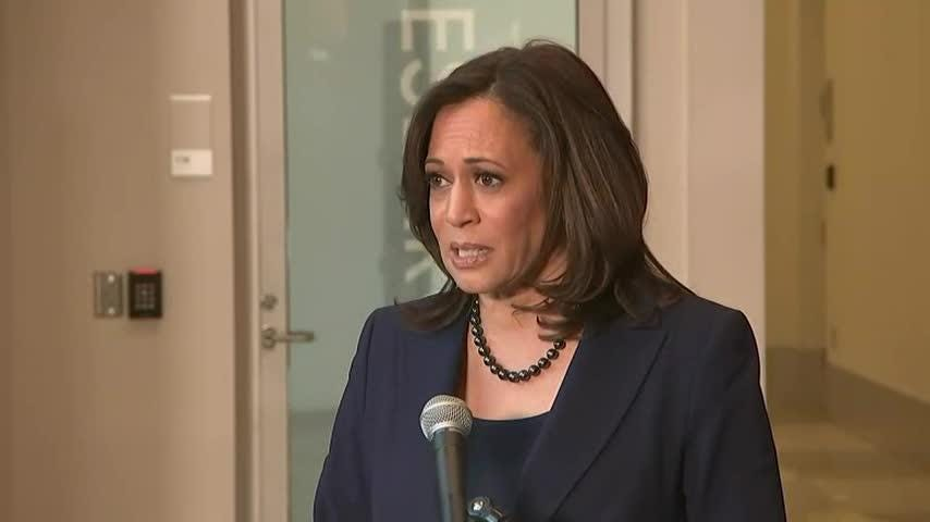 "Sen. Kamala Harris enters the Democratic presidential race Monday, vowing to ""stand up and fight for the best of who we are"" in America. (Jan. 21)"