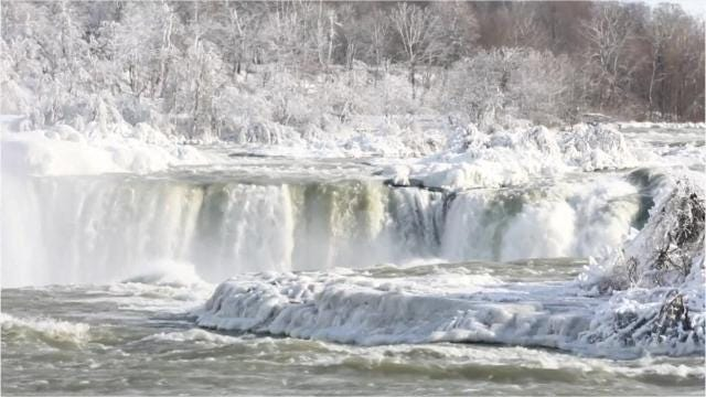 It's so cold, parts of Niagara Falls have frozen like a scene from a Disney movie