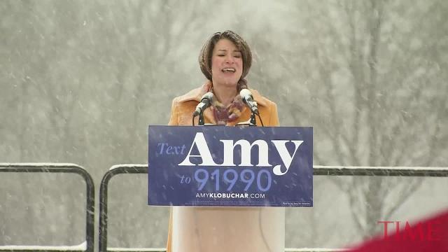 Minnesota Sen. Amy Klobuchar on Sunday joined the growing group of Democrats jostling to be president