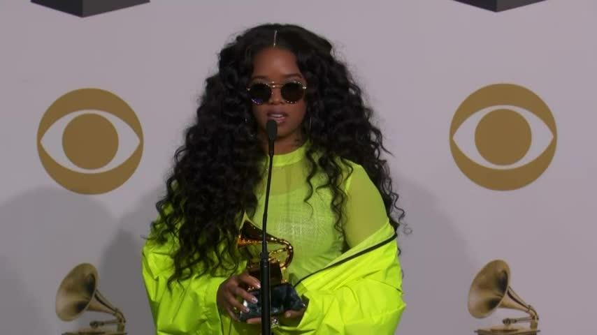 H.E.R. explains how the Grammys have enabled her to hit her goals and elevate herself. (Feb. 11)