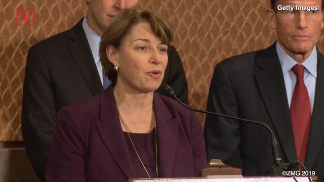President Trump found it ironic that Senator Amy Klobuchar talked of fighting global warning while in a snowstorm. The latest 2020 presidential candidate fired back. Veuer's Justin Kircher has the story.