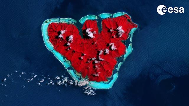ESA is celebrating Valentine's Day with an image of the heart-shaped island of Moorea, 12 miles northwest of Tahiti in the South Pacific.