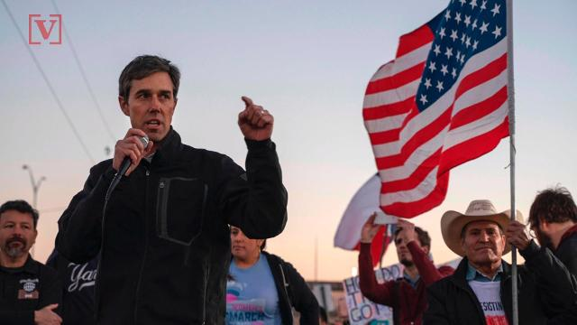 """Beto O'Rourke says that when it comes to a border wall in his native Texas, he would """"take the wall down"""". Veuer's Justin Kircher has the story."""