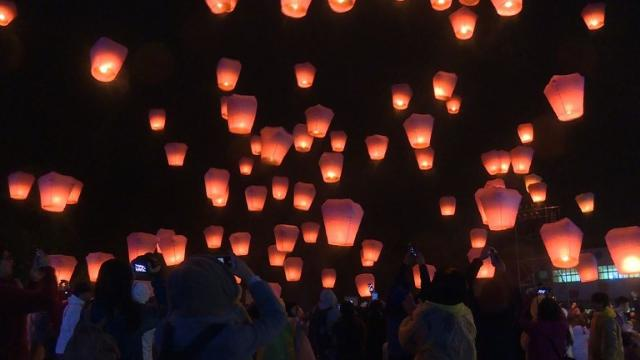 Visitors flock to Pingxi Village in northern Taiwan for the island's annual lantern festival. Video provided by AFP